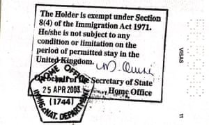 Home Office stamp granting permission to remain in the UK.
