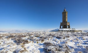 Darwen Tower in winter after snowfall