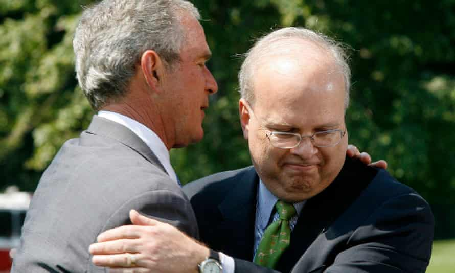 George W Bush (left) with his White House adviser Karl Rove, 2007.
