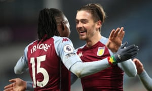 "Aston Villa v Newcastle United - Premier League - Villa ParkAston Villa's Bertrand Traore (left) celebrates scoring his side's second goal of the game with team Jack Grealish during the Premier League match at Villa Park, Birmingham. Picture date: Saturday January 23, 2021. PA Photo. See PA story SOCCER Villa. Photo credit should read: Clive Brunskill/PA Wire. RESTRICTIONS: EDITORIAL USE ONLY No use with unauthorised audio, video, data, fixture lists, club/league logos or ""live"" services. Online in-match use limited to 120 images, no video emulation. No use in betting, games or single club/league/player publications."