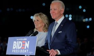 Democratic US presidential candidate and former vice-president Joe Biden speaks with his wife Jill at his side.