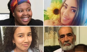 Missing following the fire at Grenfell Tower in west London: Clockwise from top left: Khadija Saye, Mariem Elgwahry, Ali Yawar Jafari, and Jessica Urbano Ramiez.