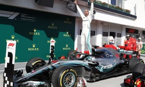 Lewis Hamilton celebrates winning the Hungarian Grand Prix in July.
