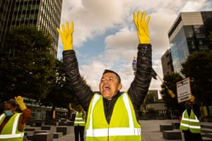 Union rep Guillermo Camacho, protesting outside the Facebook offices in London. The Observer reported on how he has been suspended from work after campaigning about the workloads faced by cleaning staff.