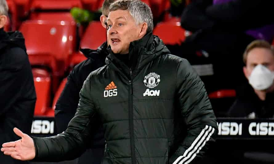 Ole Gunnar Solskjaer urges his side on against Sheffield United. Manchester United won 3-2 to go sixth and have a game in hand on most other teams.
