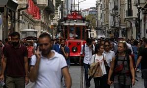 People walking in main street of Istanbul