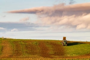 A farmer spreads manure over a field in the Scottish Borders