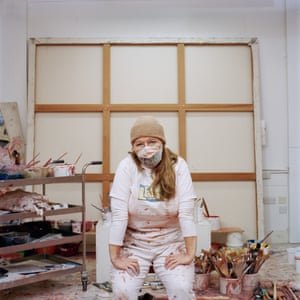 Jenny Saville's Masked portrait in support of AT the Bus charity