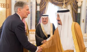 Philip Hammond and  Salman bin Abdulaziz in Riyadh, Saudi Arabia