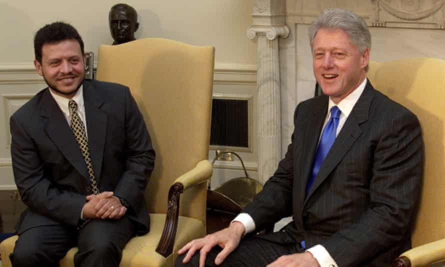 Jordan's King Abdullah II and then-president Bill Clinton in the Oval Office of the White House in 1999.