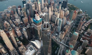 An aerial view One World Trade Center in Lower Manhattan,