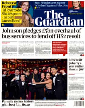 Guardian front page, Thursday 11 February 2020
