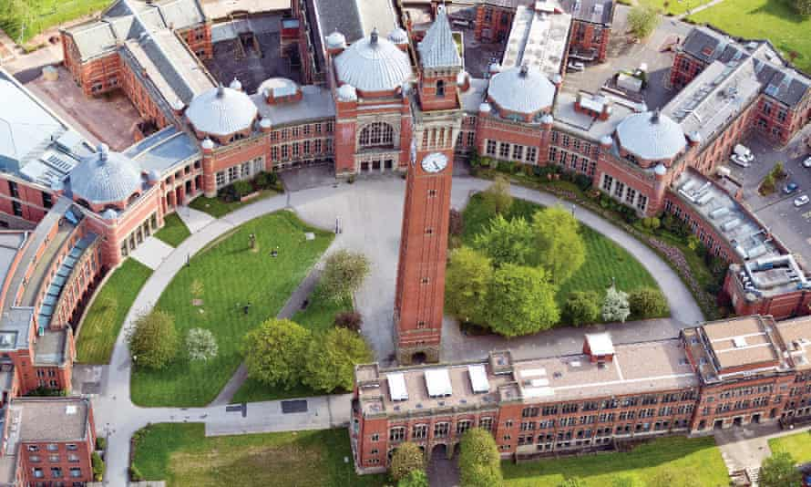 Birdseye view of Birmingham University campus. The use of unconditional offers is controversial among school leaders.