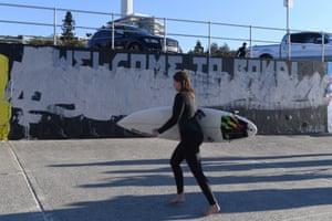 Luke Cornish's defaced mural on the promenade at Bondi Beach.
