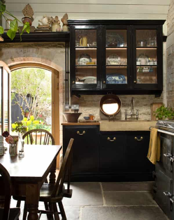 The kitchen, with its woodwork and reclaimed cupboards.