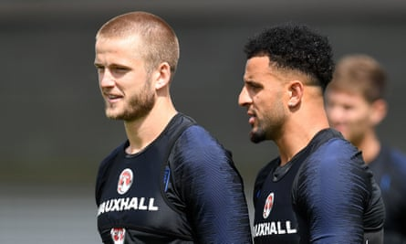 Eric Dier (left) and Kyle Walker during an England training session this month.