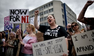 People take part in the Rally for Choice demonstration outside Belfast's city hall last July.
