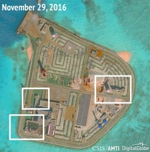 Apparent weapons systems on Johnson Reef in the South China Sea.