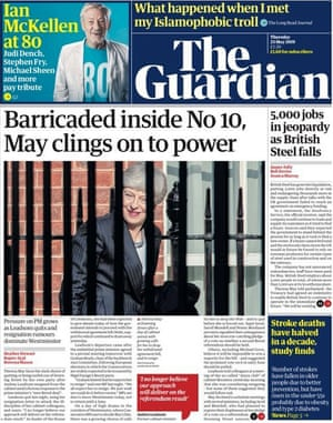 Guardian front page, Thursday 23 May 2019