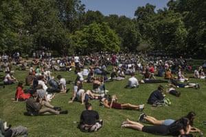 London, England Londoners enjoy the sunshine in Lincoln's Inn Fields