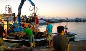 Fishermen in Kelibia's Harbour, Tunisia.