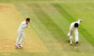 England's Joe Denly is run out for 10.