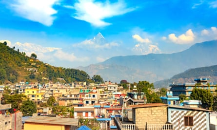 View of Machhapuchhre Himal seen from the city of Pokhara.
