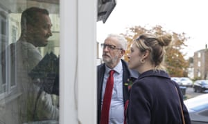 Jeremy Corbyn campaigning today with Labour's prospective parliamentary candidate for Harlow, Laura McAlpine