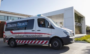 patient transport vehicle leaving aged care home