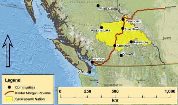 TransMountain pipeline's route through the Secwepemc Nation in British Columbia, Canada.