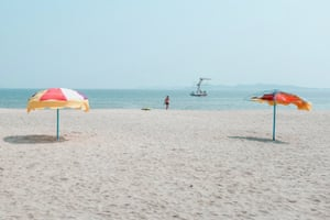 The beach in Wonsan, a resort town popular with North Koreans in the summer. The government recently completed a new airport nearby, seen as an indication of the regime's desire to attract foreign visitors