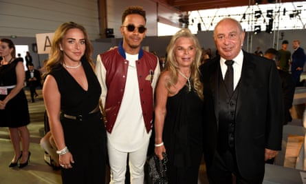 The Green family with racing driver Lewis Hamilton in Cannes