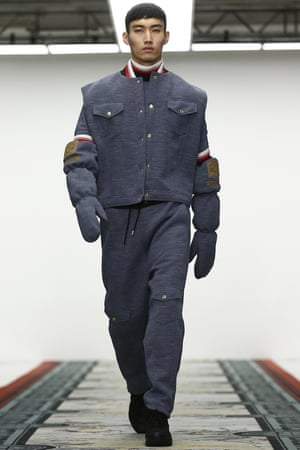 Elbow-length oven mittens at the Astrid Andersen show, at the London Collections Men event.