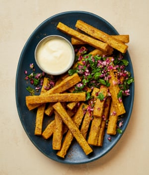 Yotam Ottolenghi's chaat masala chickpea and polenta fries with chickpea 'mayo'.