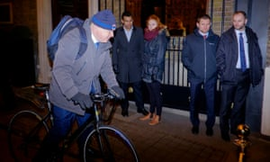 Boris Johnson departs from a Tory fundraising event in central London.