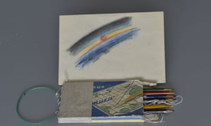 The first piece of art created in space, and the pencils Alexei Leonov used to draw it.