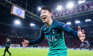 Son Heung-min celebrates Tottenham's win at Ajax that sealed a place in a Champions League final against Liverpool.