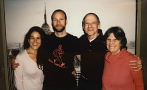 Chesa Boudin, second from left, with his fiancée Valerie Block, stands with his parents, David Gilbert and Kathy Boudin, at the Wende Correctional Facility in Alden, New York.