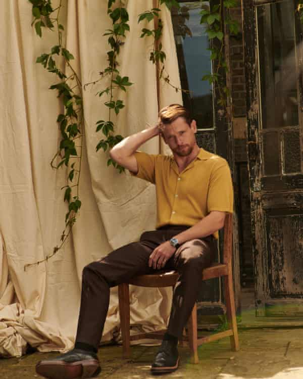 'Misogyny is a pig-ugly trait': Jack wears mustard shirt by basicrights.com, brown trousers by Sefr at matchesfashion.com, watch by jaeger-lecoultre.com and shoes by grenson.com.