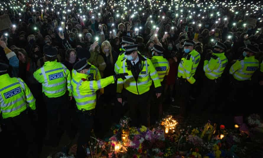 Police at a vigil for Sarah Everard in Clapham Common, London, on Saturday