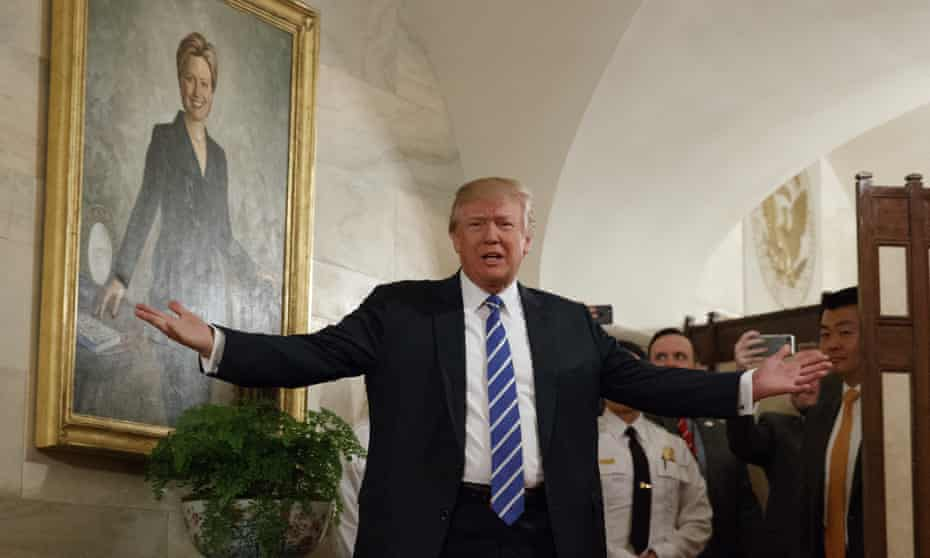 Donald Trump greets visitors touring the White House in Washington Tuesday.