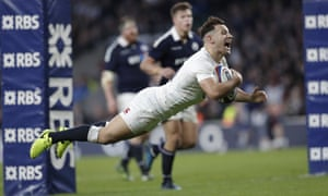 Danny Care dives over the line to score his second try of the match and England's seventh.