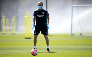 Pep Guardiola during training at Manchester City Football Academy.
