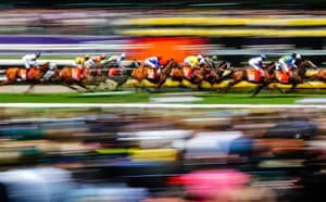 A general view of The Macca's Run, the fourth race of Melbourne Cup Day, at Flemington racecourse.