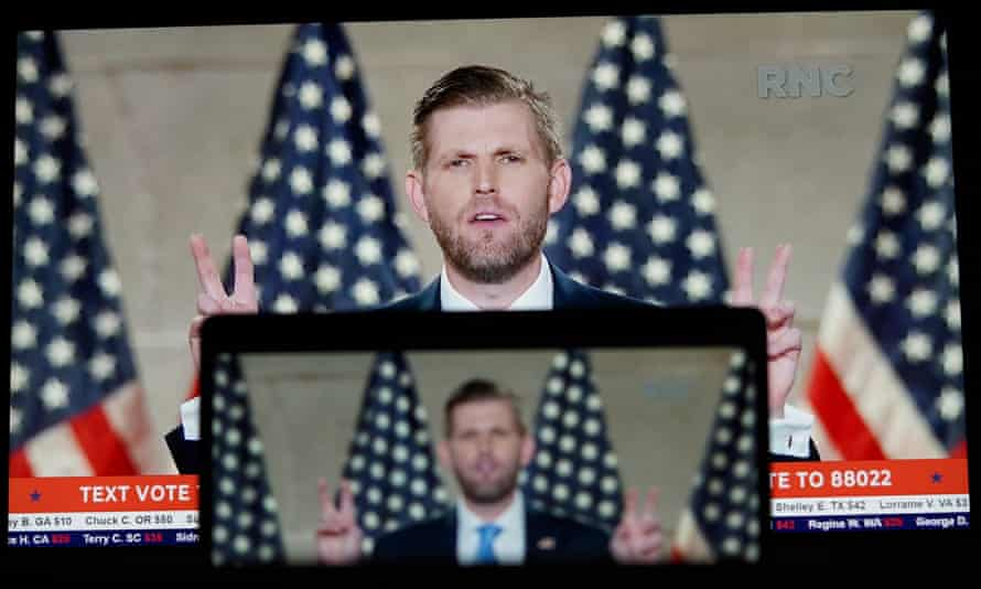 Eric Trump speaks at the Republican national convention on 25 August.