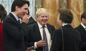 Justin Trudeau, Boris Johnson and Princess Anne in conversation