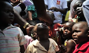 A polio vaccination programme in Ivory Coast organised by Rotary International, UNICEF and the World Health Organisation
