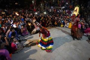 Peformance during Indra Jatra festival in Kathmandu