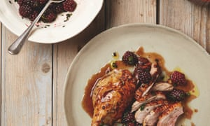 Yotam Ottolenghi's roast duck with pickled blackberry and mint salsa.