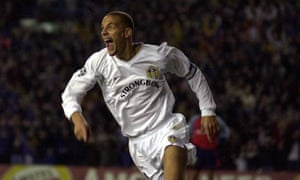 Rio Ferdinand celebrates after scoring for Leeds against Deportivo in the Champions League quarter-finals.